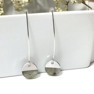 Silver and Green Hanging Earrings